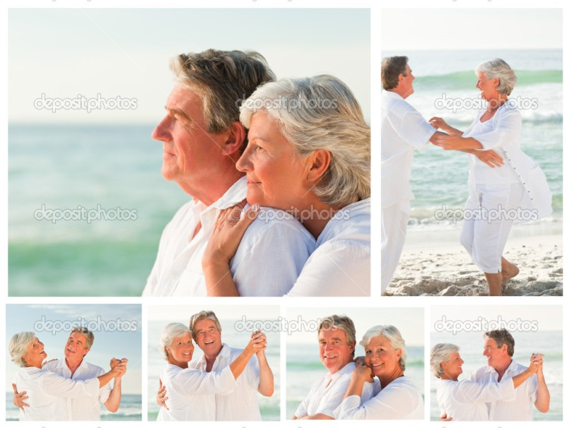 Collage of an elderly couple sharing good moments together on a